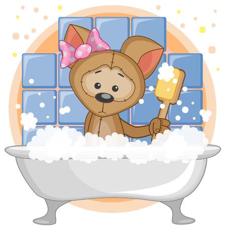 Cute cartoon Dog in the bathroom
