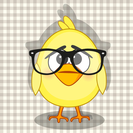 chiken: Hipster Chiken on a plaid background