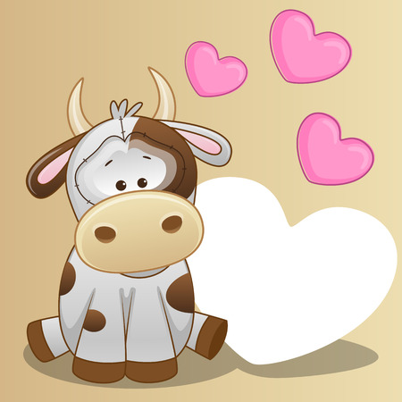 Greeting card Cow with hearts  Illustration
