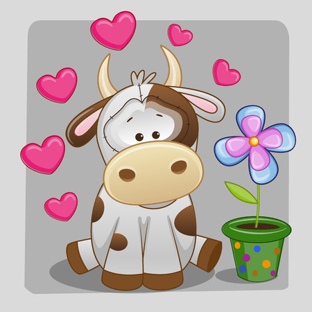 cartoons designs: Greeting card Cow with heart and flower