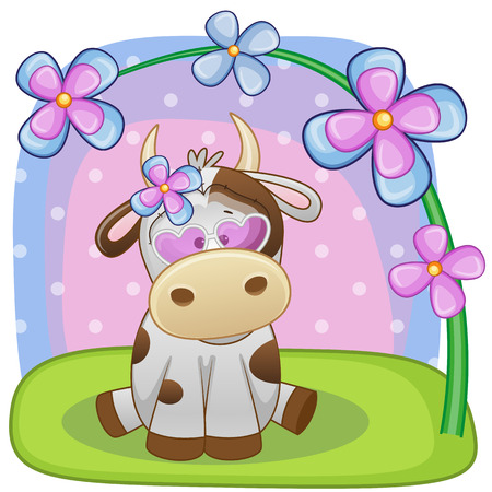 sad love: Greeting card Cow with flowers