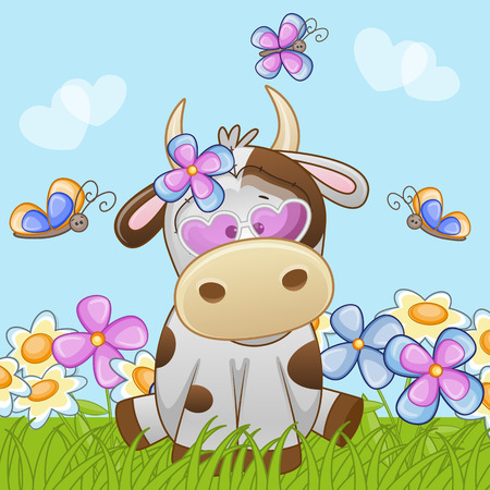 girl computer: Cow with flowers and butterflies  Illustration