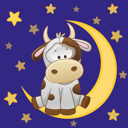 Cute Cow is sitting on the moon Vector