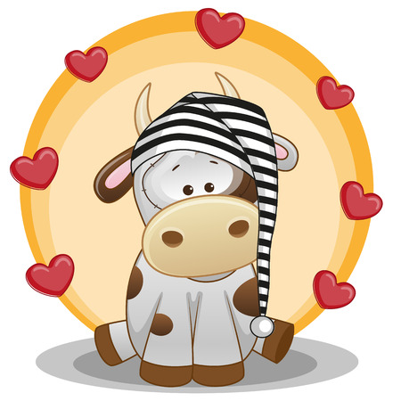 Cute Cow in hat with hearts