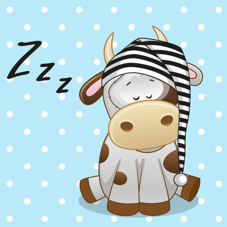 children cow: Sleeping Cow in a cap  Illustration