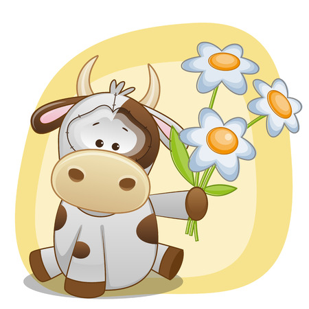 Greeting card Cow with flowers  Vector
