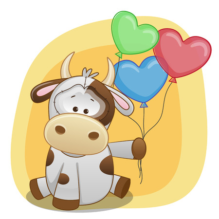 pets background: Greeting card Cow with balloons  Illustration