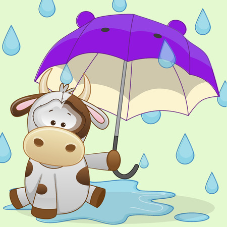 beautiful cow: Greeting card Cow with umbrella  Illustration