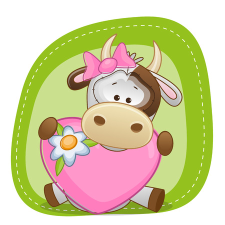 Greeting card Cow girl with heart  Vector