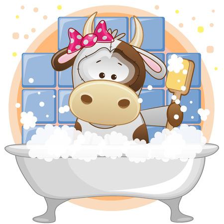 caricaturas de animales: Vaca linda de la historieta en el baño
