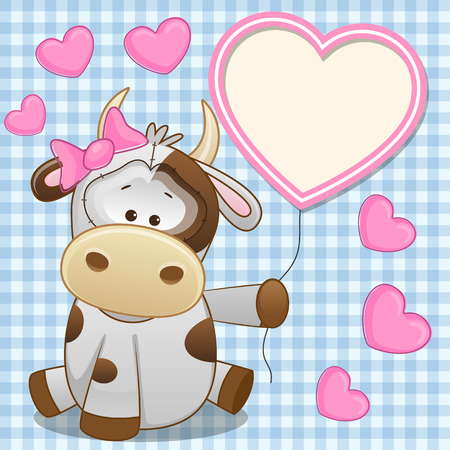 Valentine card with Cow with heart frame  Vector