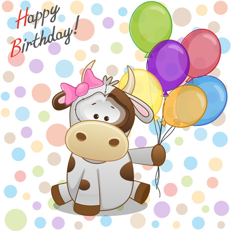 Greeting card Cow with balloons  Illustration