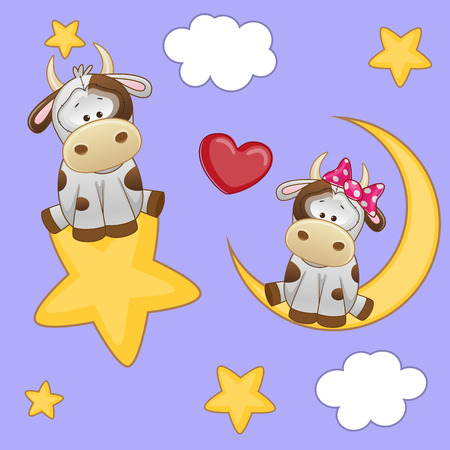 Valentine card with Lovers Cows  Vector