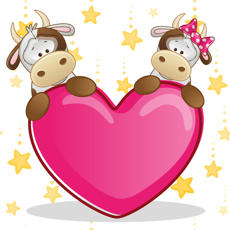 children cow: Valentine card with Lovers Cows