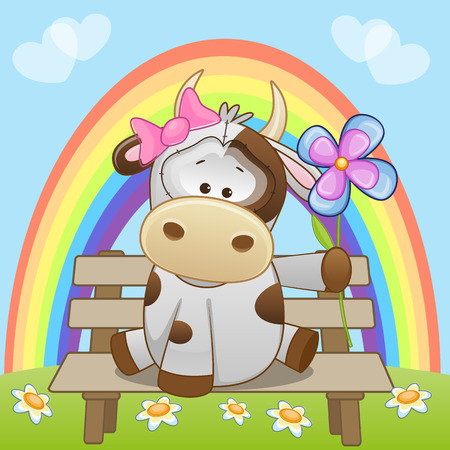 Greeting card Cow with flower  Vector