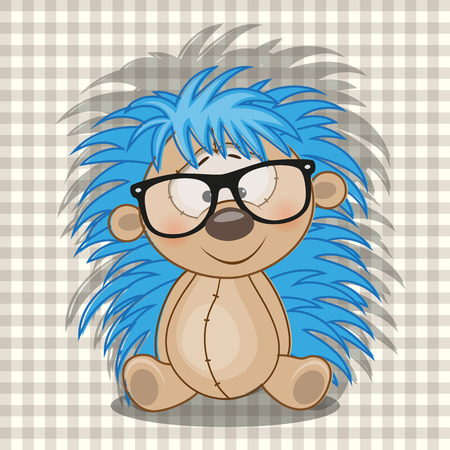 teenagers only: Hipster Hedgehog on a plaid background Illustration