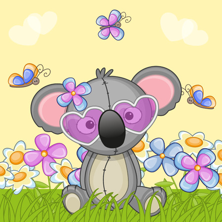Koala with flowers and butterflies  Vector