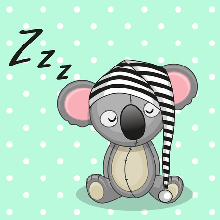 baby sleeping: Sleeping Koala in a cap