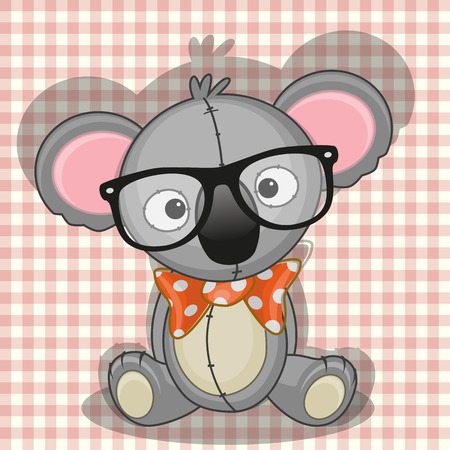 teenagers only: Hipster Koala on a plaid background