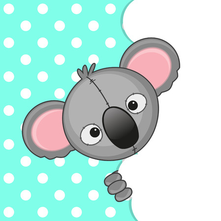 Koala peeking out from behind the clouds Illustration