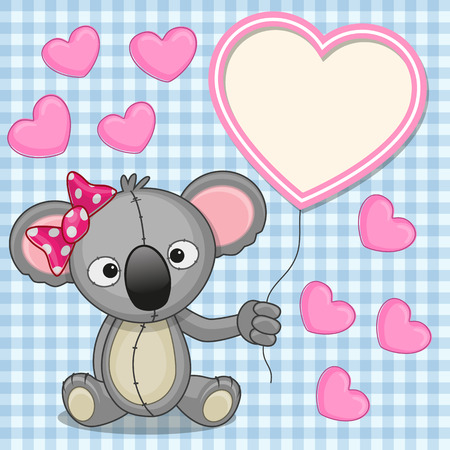 Valentine card with Koala with heart frame  Vector