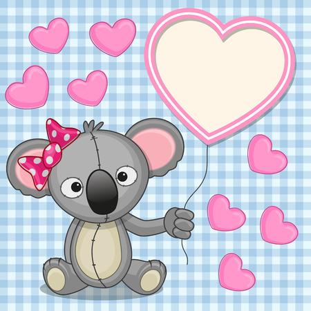 Valentine card with Koala with heart frame  Vector