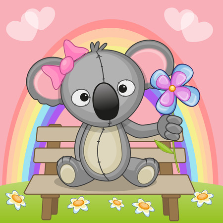 Greeting card Koala with flower  Vector