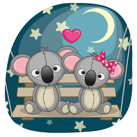 childbirth: Valentine card with Lovers Koalas on the swing  Illustration