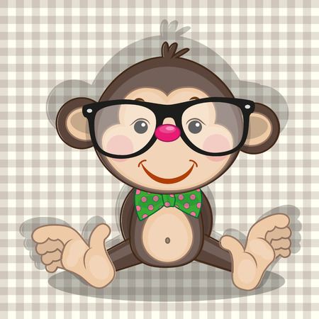 teenagers only: Hipster Monkey on a plaid background