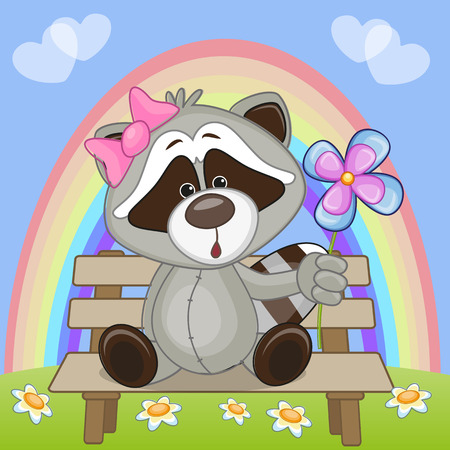 Greeting card Raccoon with flower  Vector