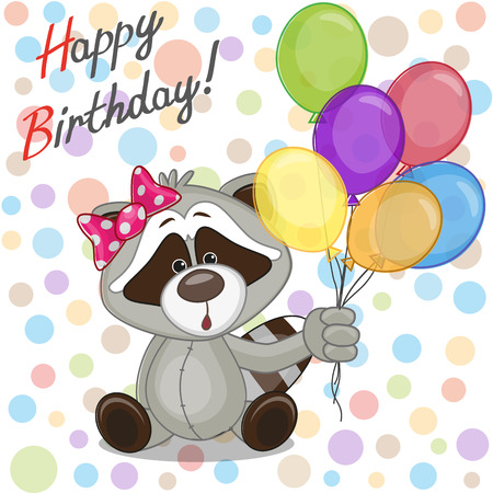 birth day: Greeting card Raccoon with balloons