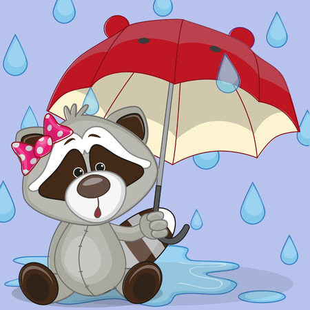 childbirth: Greeting card Raccoon with umbrella
