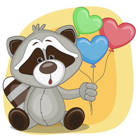 Greeting card Raccoon with balloons  Vector