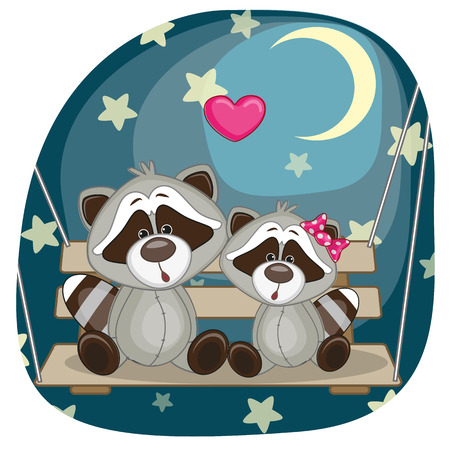 raccoons: Valentine card with Lovers Raccoons on the swing