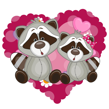 Two Raccoons on a background of heart  Vector