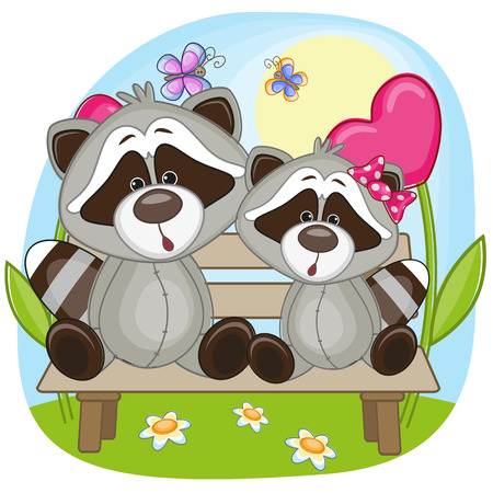 Valentine card with Lovers Raccoons  Vector