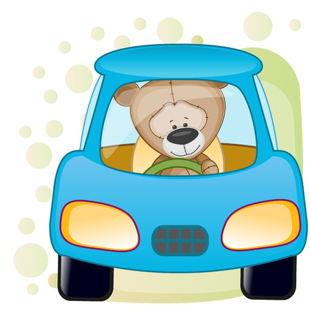 carritos de juguete: Oso lindo se está sentando en un coche