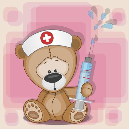테디 베어 간호사는 그의 손에 주사기를 유지