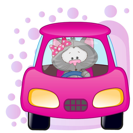 toy car: Cute Cat girl is sitting in a car  Illustration