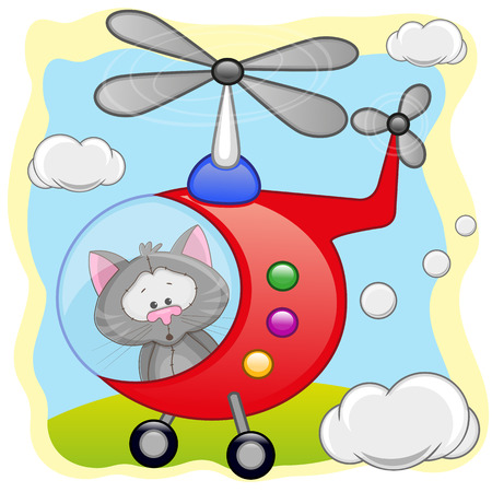 freeride: Cat is flying in a helicopter  Illustration