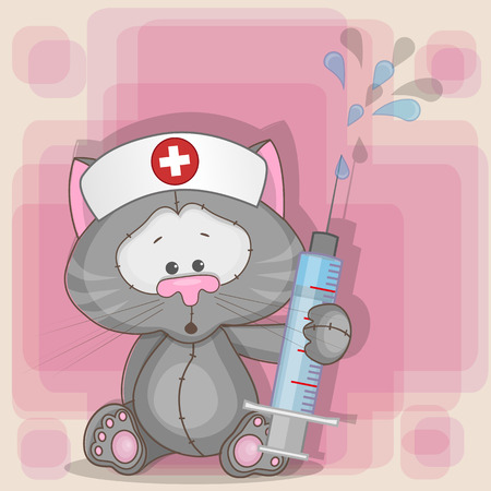 nurse cap: Cat nurse with a syringe in his hand  Illustration