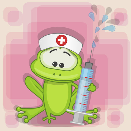 health cartoons: Frog nurse with a syringe in his hand  Illustration