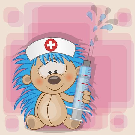 enfermera con cofia: Erizo enfermera con una jeringa en la mano Vectores