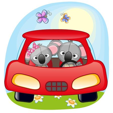 Two Koalas is sitting in a car  Vector