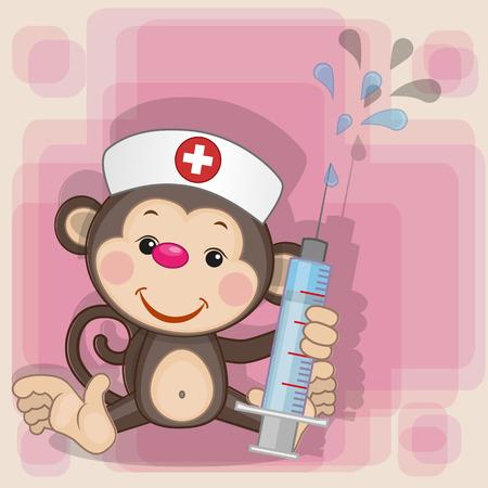 enfermera con cofia: Enfermera del mono con una jeringa en la mano