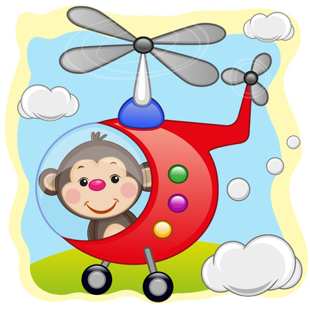 flying monkey: Monkey is flying in a helicopter  Illustration