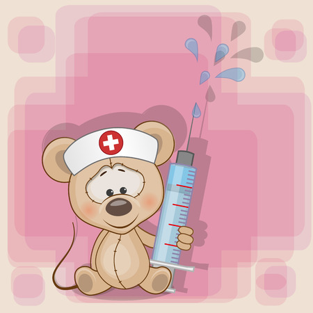 Mouse nurse with a syringe in his hand