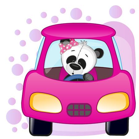 かわいいパンダの女の子は車に座っています。