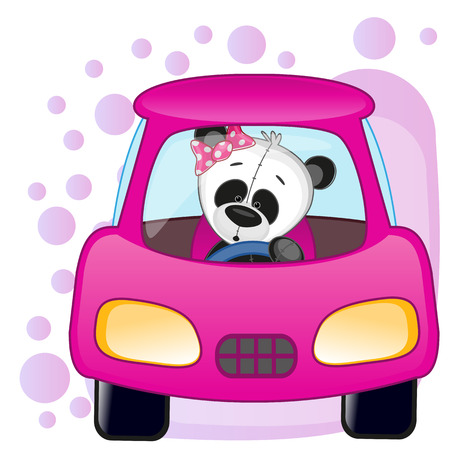 Cute Panda girl is sitting in a car  Illustration