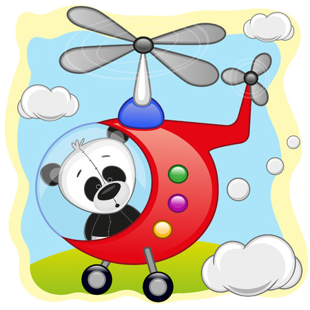 mode: Panda is flying in a helicopter
